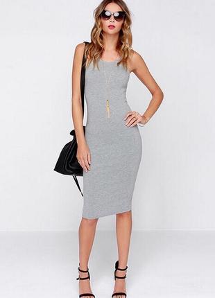 Трикотажное платье-майка c разрезом миди bershka xs\s