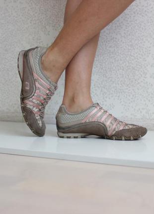 Кожаные кроссовки, натуральная кожа и замша, дышащий текстиль, бренд skechers