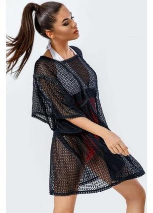 Пляжная туника платье ажурная сетка, xs-s