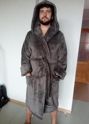 Теплый пушистый мужской халат махра недорого!