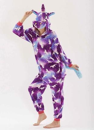 Пижама кигуруми единорог фиолетовый с единорогами s 145-155 рост