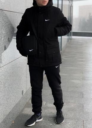 Парка nike черная зимняя+штаны теплые найк+барсетка и перчатки в подарок.комплект мужской