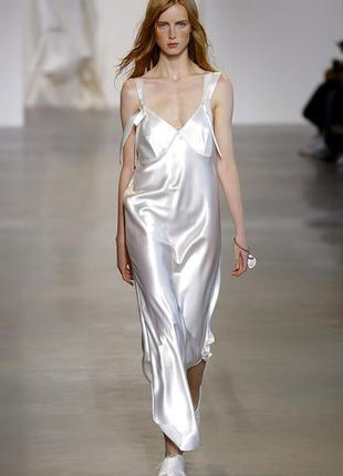 Модно до неприличия! молочное платье-комбинация атласное в бельевом стиле 14-16 хл-ххл
