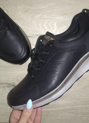 Мужские туфли черные мокасины чоловічі туфлі полуботинки