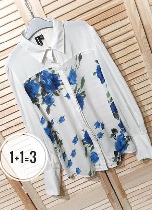 Izabel london стильная рубашка s-m длинный рукав белая принт цветы блуза блузка тренд