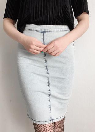 Джинсовая юбка карандаш zebra
