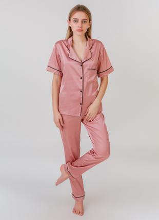 Пижама шелк армани serenade розовая