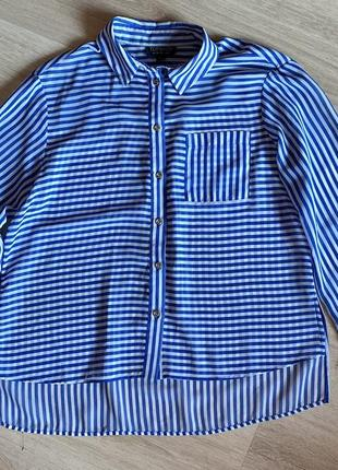 Рубашка в бело-синию полоску