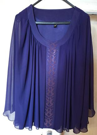 Блузка - двойка фиолетовая. топ + накидка. накидка летучая мышь. размер 62-64.
