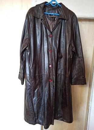 Кожаный женский плащ. размер 64-66.
