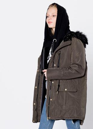 Парка с капюшоном цвета хаки pull&bear идеальна на осень 🍁 утепленная осенняя куртка