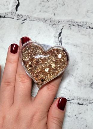 Попсокет сердце, держатель для телефона жидкий блестки glitter, бронзовый
