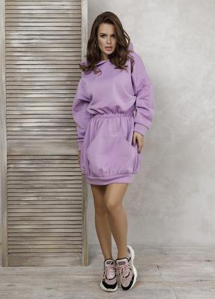 Сиреневое утепленное флисом приталенное платье-толстовка, жіноче спортивне плаття