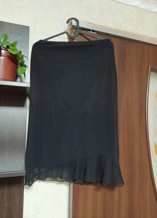 Юбка черная нарядная из сеткой