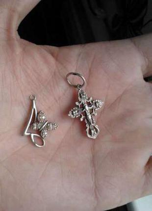 Серебряные серьги крестик кулон