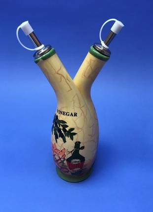 Емкость для оливкого масла и уксуса сосуд 2 в 1  керамическая