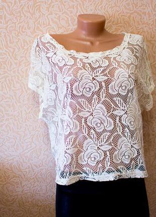 Блузка гипюр кружева цветы