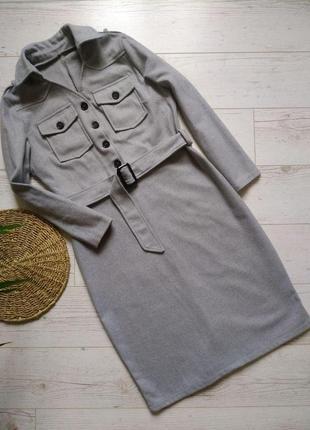 Теплое винтажное платье с поясом р. 10 (м)