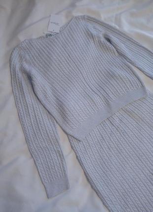 Вязаный костюм с юбкой серый свитер кофта джемпер миди