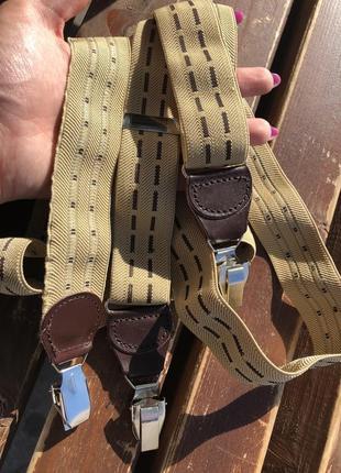 Подтяжки стильные для брюк песочного цвета