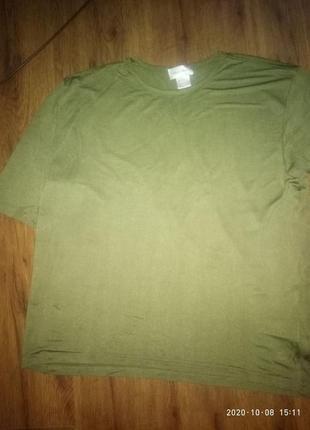 Мужская шелковая футболка цвета хаки