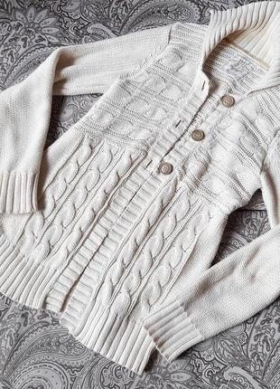 Кофта туника 100% хлопок   пуловер свитер бежев бел молоч цвет пуговиц