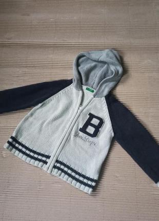 Кофта с капюшоном на замке свитер 104 110