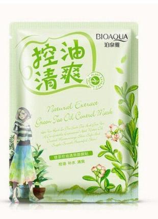 Bioaqua маска для лица тканевая освежающая с экстрактом зеленого чая для жирной кожи, 1шт