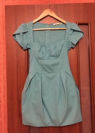 Мини платье лазурного цвета