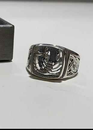 Мужской серебряный перстень, печатка, кольцо, скорпион, 925