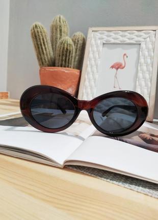 Качественные овальные солнцезащитные очки имиджевые большие ретро винтажные окуляри великі