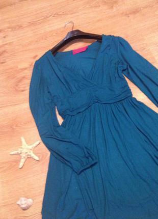 Стильное платье изумрудного цвета/ длинный рукав/ boohoo /l