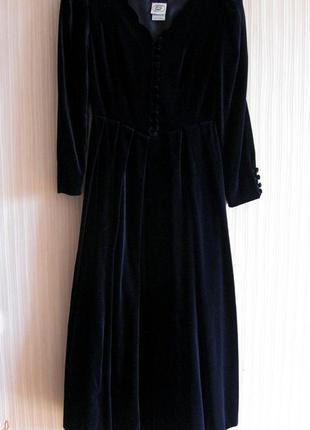 Винтажное бархатное темно-синее платье  laura ashley