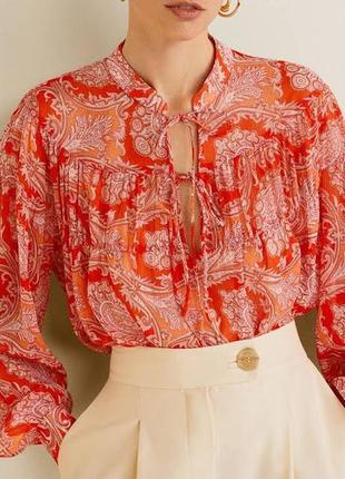 Шифоновая блуза принт mango, l