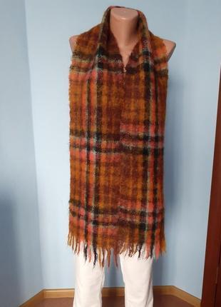 Шарф в клетку,шотландская шаль,шарф мохеровый,шарф винтажный