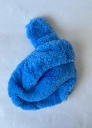 Голубая сумка из эко-меха