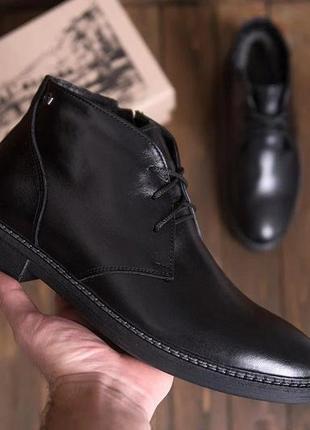 Мужские зимние кожаные ботинки из натуральной кожи vankristi
