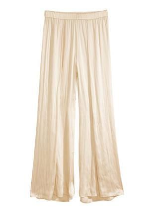 Широкие сатиновые брюки h&m,  шелковые свободные летние штаны