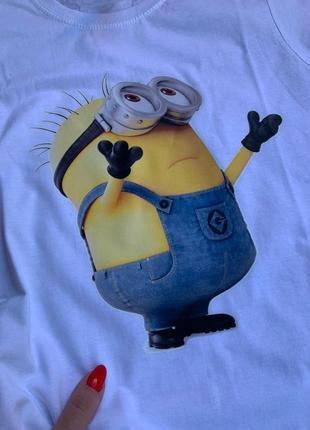 Распродажа!!!! прикольная белая женская футболка с принтом миньон