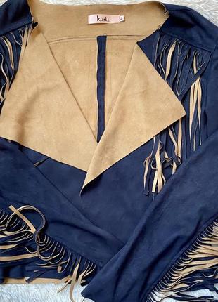 Курточка, кардинан, накидка с бахромой, замшевшая