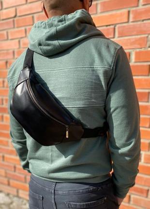 Бананка кожаная поясная сумка барыжка мужская из натуральной кожи