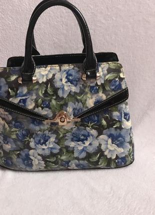Сумка лакова лаковая синяя квітковий принт каркасная сумочка