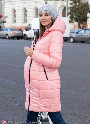 Двухстороннее пальто для беременных из плащевки с легким блеском на европейскую зиму