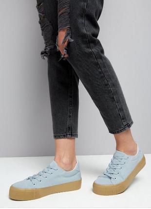 Нежно-голубые кеды на платформе new look