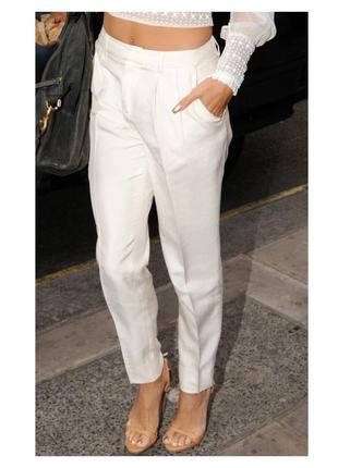 Стильные элегантные зауженные брюки цвета ivory