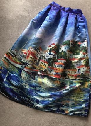Длинная юбка в пол с принтом