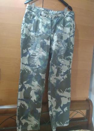 Камуфляж, брюки,  порванные джинсы ulla popken