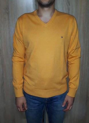 Хлопковый яркий горяче желтый джемпер свитер свитшот с кашемиром tommy hilfiger оригинал