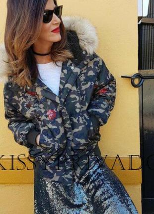 Крута куртка пуховик пуффер анорак бомбер камуфляжный вышивка капюшон zara
