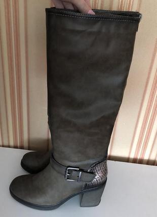 Осенние весенние сапоги ботинки на толстом каблуке кожа